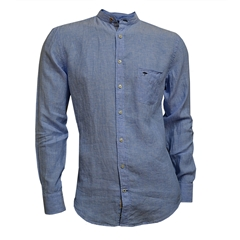 Fynch Hatton Linen Shirt - Sky Blue with Grandad Collar