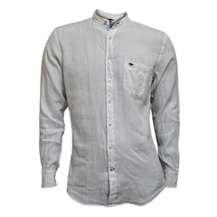 Fynch Hatton Linen Shirt - White with Grandad Collar