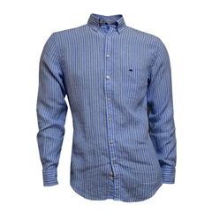 Fynch Hatton Linen Shirt - Blue and White Stripe