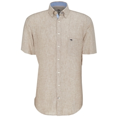 Fynch Hatton Linen Shirt - Taupe Half Sleeve
