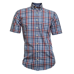 Fynch Hatton Half Sleeve Shirt - Ruby and Navy Check