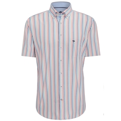 Fynch Hatton Half Sleeve Shirt - Blue and Mango Stripe