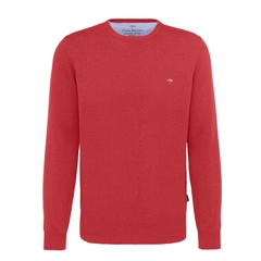 Fynch Hatton Superfine Cotton Crew Neck Sweater - Coral Red