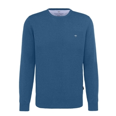 Fynch Hatton Superfine Cotton Crew Neck Sweater - Azure Blue