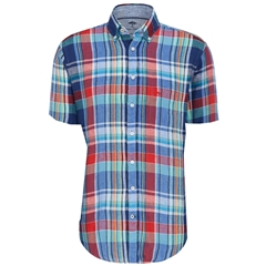 Fynch Hatton Linen Shirt - Half Sleeve - Berry and Navy Check