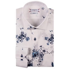 New 2019 Giordano Shirt - White with Abstract Flowers