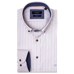 Giordano Shirt - White with Blue Stripe
