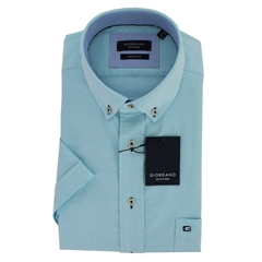 New 2019 Giordano Short Sleeve Shirt - Turquoise Oxford