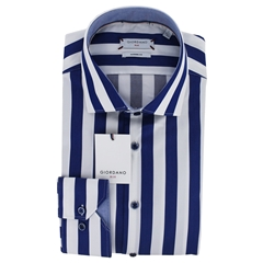 New 2019 Giordano Shirt - Blue Block Stripe
