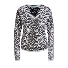 Oui Leopard Print Jumper - Black/Brown