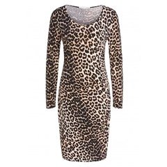 Oui Leopard Print Dress - Black/Brown