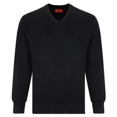 Gabicci Half V Neck Sweater - Black