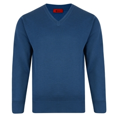 Gabicci Half v Neck Sweater - Denim
