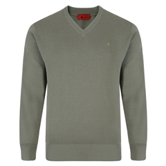 Gabicci Half V Neck Sweater - Olive