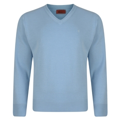 Gabicci Half V Neck Sweater - Sky