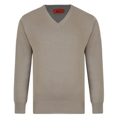 Gabicci Half V Neck Sweater - Stone
