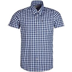 New 2019 Barbour Men's Tailored Short Sleeve Shirt - Gingham 3 - Navy Check