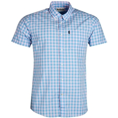 New 2019 Barbour Men's Tailored Short Sleeve Shirt - Gingham 5 - Blue and Pink Check