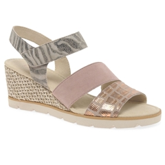 Gabor Poet Wedge Heel Sandals - Rose