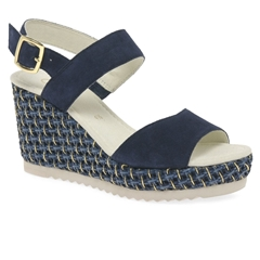 Gabor Wicket Wedge Heel Sandals -Navy