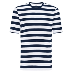 Spring 2019 Fynch Hatton Striped Cotton T-Shirt - Blue and White Block Stripe