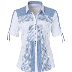 Just White Short Sleeved Stripe Mesh Shirt - White/Blue
