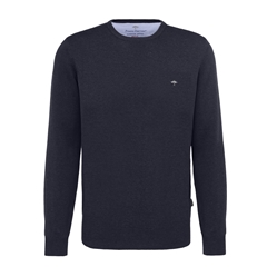 Spring 2019 Fynch Hatton Superfine Cotton Crew Neck Sweater - Navy