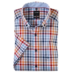 Olymp Modern Fit Short Sleeve Shirt - Multi Colour Check