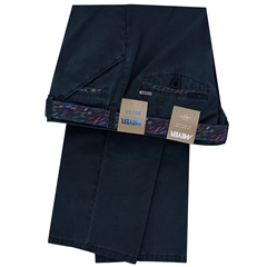 New 2019 Meyer Textured Cotton Trouser - Navy Blue - Chicago 5013 18