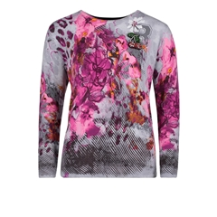 Betty Barclay - Fine Knit Floral Jumper - Pink/Grey