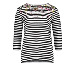 Betty Barclay - Striped Floral Top - Black/White