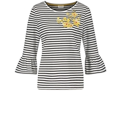 Gerry Weber Bell Sleeve Stripe Top - Ecru/Black
