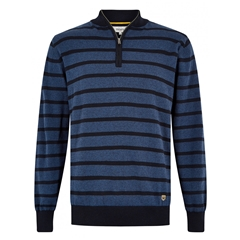 Dubarry Men's Half-Zip Striped Sweater - Abbeyville - Navy Blue