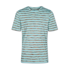 Colours & Sons Mario Striped T-shirt - Turquoise  - XL Only