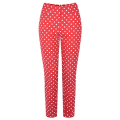 Robell Trouser - Rose Polka Dot - Red