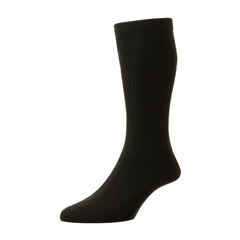 HJ Hall Men's Wool Softop Socks - Black