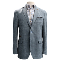 Linen, Cotton & Wool Summer Jacket - Blue