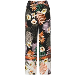 Gerry Weber Floral Trousers - Black / Orange