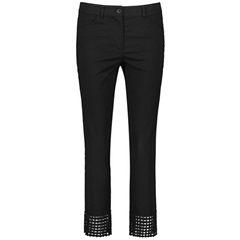 Gerry Weber Trousers with Decorative Hem - Black