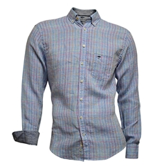 Fynch Hatton Linen Shirt - Blue Fond Check
