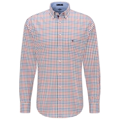 Fynch Hatton Premium Cotton Shirt - Orange/Khaki Check