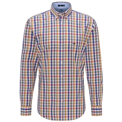 Fynch Hatton Premium Cotton Shirt - Mustard Check