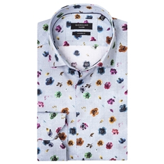 Giordano Shirt - Multi Flowers On Blue