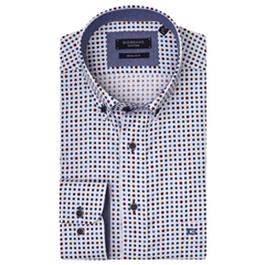 Giordano Shirt - Navy Tan Spots - Regular Fit