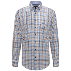 Fynch Hatton Supersoft Twill Shirt - Mustard Blue Check