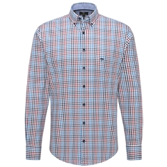 Fynch Hatton Supersoft Twill Shirt - Zinfandel Blue Check