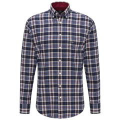 Fynch Hatton Premium Flannel Cotton Shirt - Navy Check