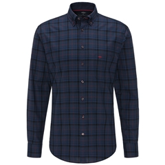 Fynch Hatton Premium Oxford Cotton Shirt - Navy Big Check