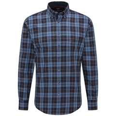 Fynch Hatton Premium Oxford Cotton Shirt - Blue Big Check