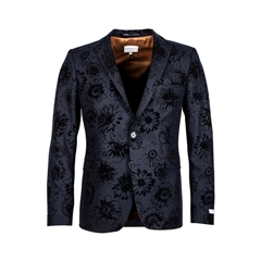 Giordano Jacket - Navy Flocked Flowers